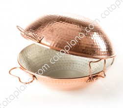 Copper Hammered Cataplana - Flat Bottom